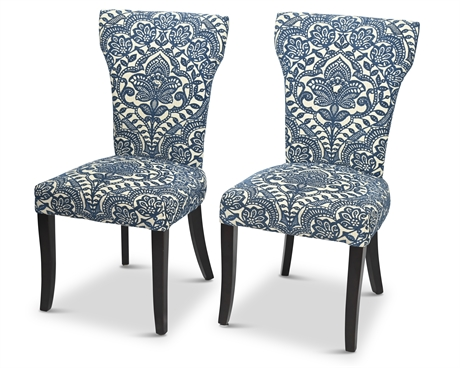 Pair Camilla Blue Damask Occasional Chairs By Pier 1 Imports