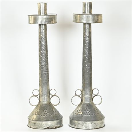 Punched Tin Candlesticks