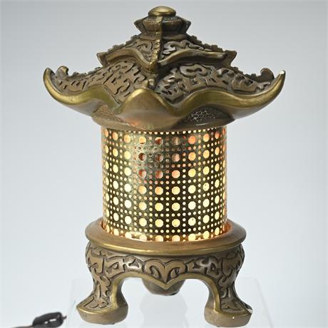 Mid-Century Pagoda Table Lamp Lantern Chinoiserie