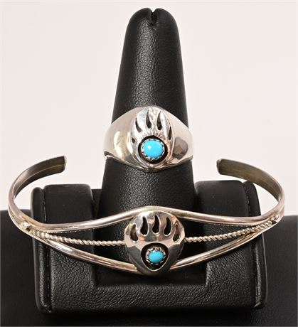Vintage Navajo Sterling Silver & Turquoise Shadowbox Bear Claw Set, 2 Piece
