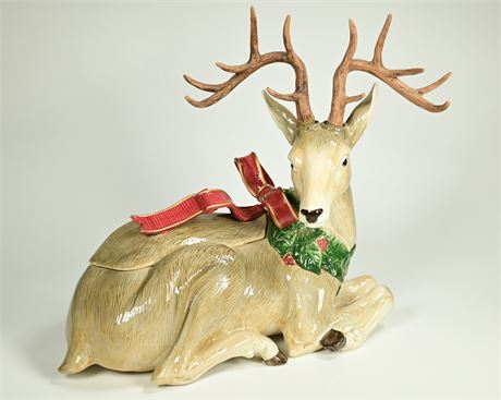 Fitz and Floyd Holiday Leaves Reindeer Centerpiece