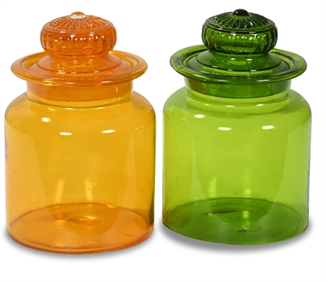 Pair Hand Blown Mid-Century Apothecary Jars