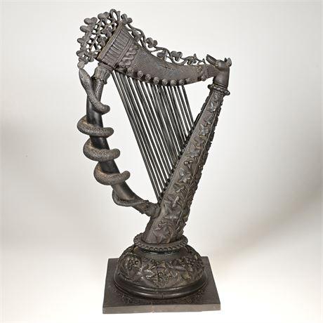 19th Century Carved Bog Harp