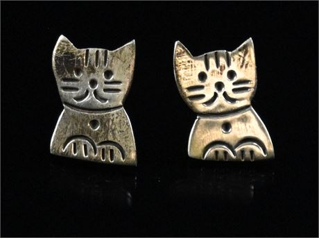 Sterling Silver Kitty Cat Earrings with Box
