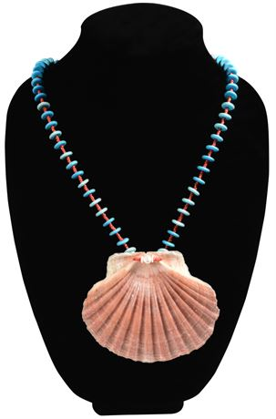 """38"""" Vintage Coral and Turquoise Necklace with Shell Pendant"""