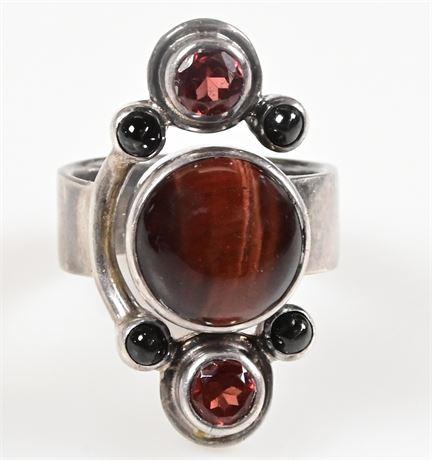 Sajen Sterling Cat's Eye Star Sapphire Gemstone Ring