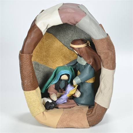 Unique Leather Wrapped Nativity