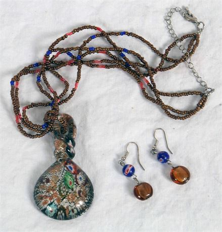 Handblown Glass Necklace and Earrings