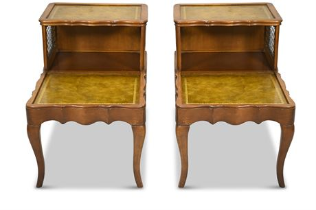 Pair French Provincial Tiered Accent Tables