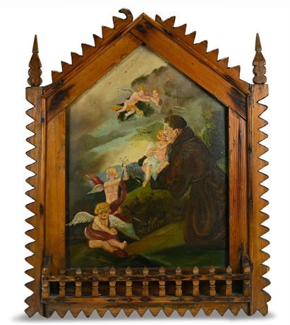 Vintage Religious Oil Painting on Canvas Board
