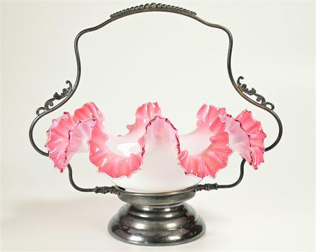Vintage Ornate Fenton Brides Basket