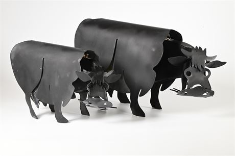 Pair of Metal Cow Sculptures