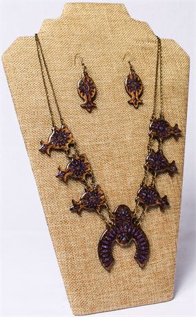 Set of Wooden Necklace and Earrings