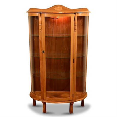 Lighted Oak Bow Front Curio Cabinet
