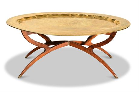 Moroccan Spider Table with Engraved Brass Tray Top