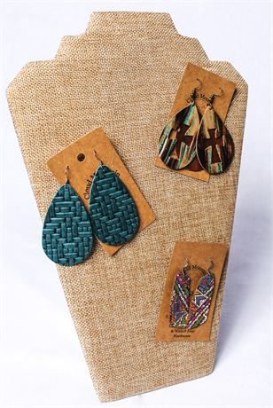 Set of Three Genuine Leather Earrings