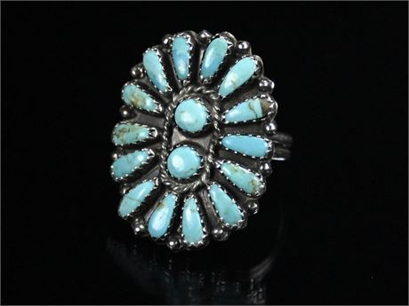 Sterling Silver Zuni Petit Point Turquoise Ring