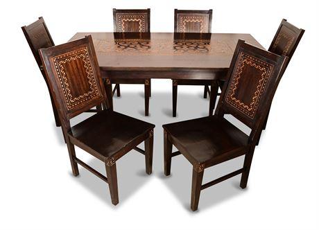 Carved Solid Wood Dining Set