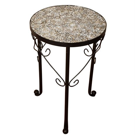 Iron Shattered Mirror Mosaic Side Table