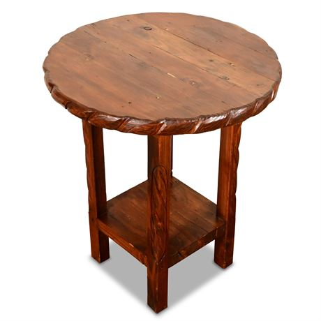 Carved Rustic Side Table