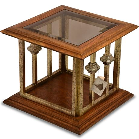 Square Iron and Glass Side Table