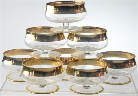 Set of 8 Gold Rimmed Shrimp Cocktail Bowls