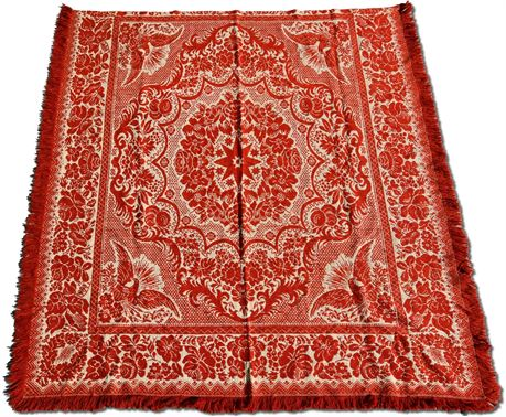 Antique 1800's Hand Woven Red & White Jacquard Coverlet