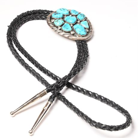 Vintage 9 Nugget Turquoise and Sterling Bolo Tie