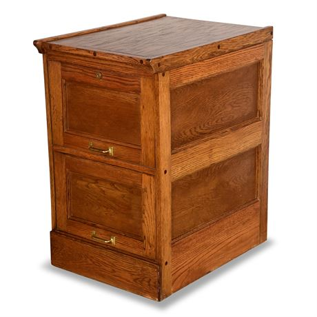 Solid Oak Two Drawer File Cabinet