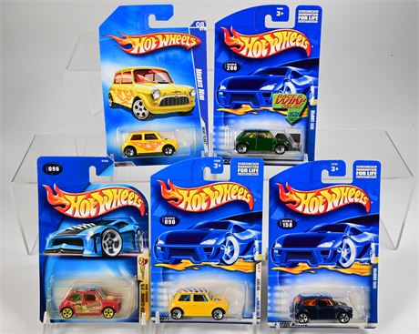(5) Hot Wheels Morris Mini and Mini Coopers