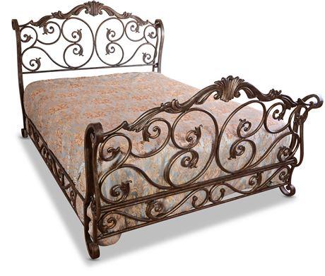 Queen Iron Sleigh Bed