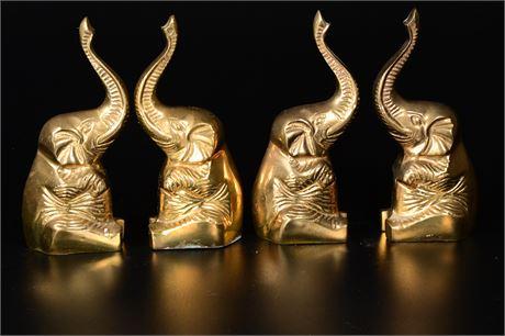 Vintage Brass Elephant Bookends