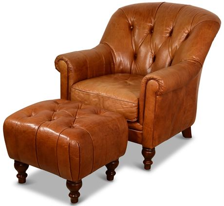 Hemingway Tufted Leather Club Chair and Ottoman