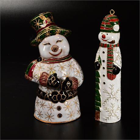 Cloisonne Style Snow Men