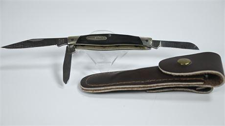Buck Pocket Knife with Leather Sheath