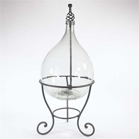 Demijohn Ambrosio Carboy Votive with Iron Stand