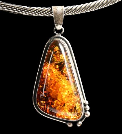Amber and Sterling Silver Pendant
