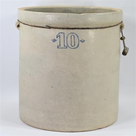 Antique 10 Gallon Salt Glazed Stoneware Crock