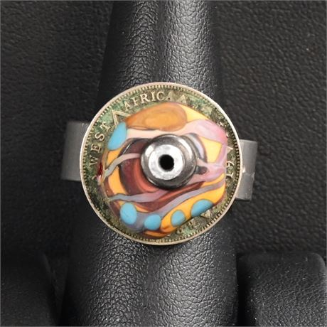 Funky Art Glass Ring, Size 7.5