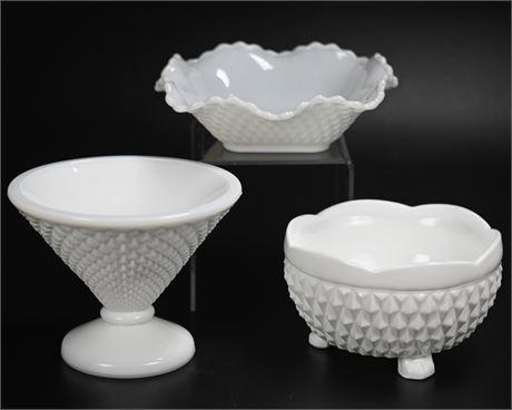 Indiana Glass Diamond Point Milk Glass