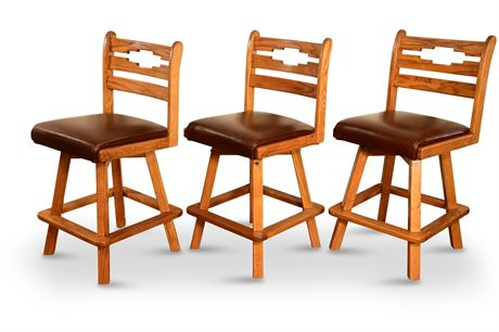 Swiveling Oak Bar Stools
