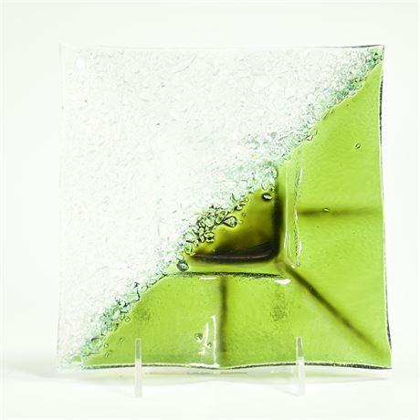 Crackle Art Glass Glass Dish