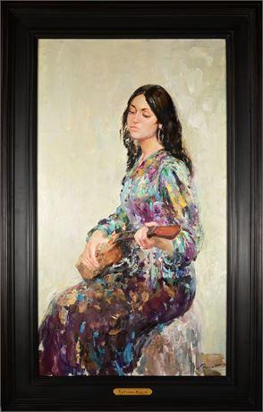 "Tatyana Kalyn Original Oil ""Girl with the Guitar"""