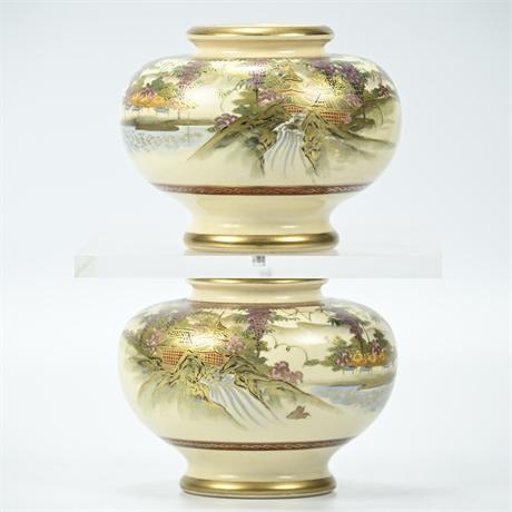 Hand Painted Soko China Ceramic Vases