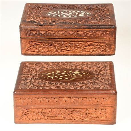 Vintage Carved and Inlaid Boxes