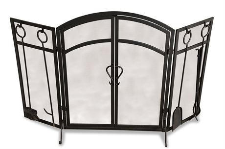 Folding Fireplace Screen with Tools