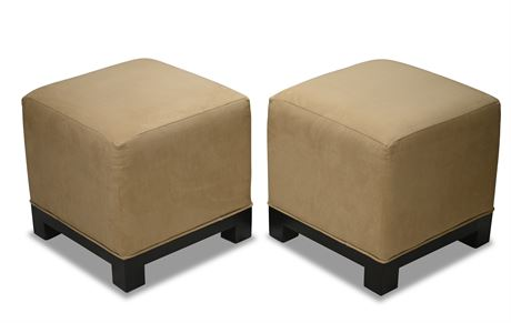 Pair Crate and Barrel Microsuede Ottoman