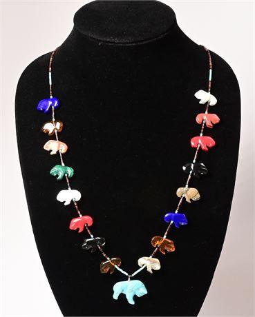 Vintage Zuni Buffalo Fetish Necklace
