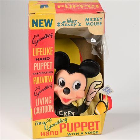 1960's Gund Mickey Hand Puppet in Original Box
