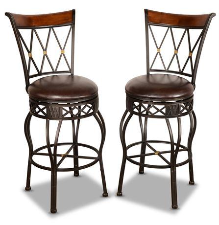 Pair of Swiveling Bar Stools